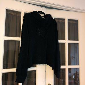 nasty gal black v/cowl neck sweater